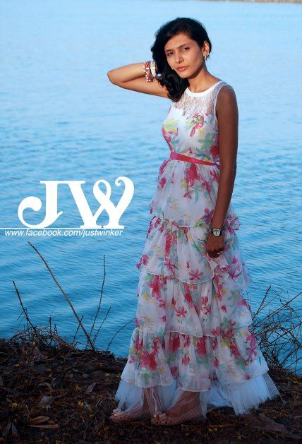 JW's white floral chiffon tiered long maxi dress with lace back detailed, perfect for beach outing or romantic walks along the shore
