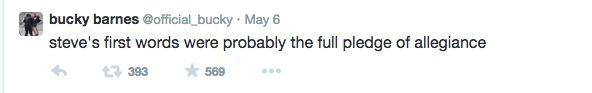 ''Steve's first words were probably the full pledge of allegiance.'' / Bucky Barnes Twitter :)