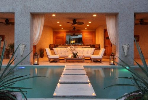 amazing pool patio with steps that look like they're floating in water
