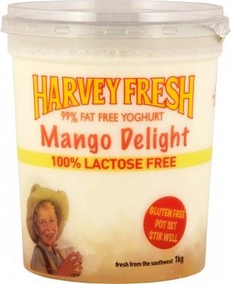 Harvey Fresh Lactose Free, Gluten Free, 99% Fat Free Yoghurt Mango Delight 1kg   www.harveyfresh.com.au