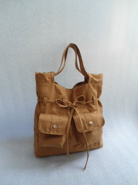 Camel tote bad-handmade bag/messenger