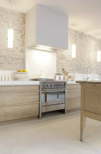 plaster hood, old stone walls, lighting & cabinet style & finish! REALLY a very appealing kitchen.