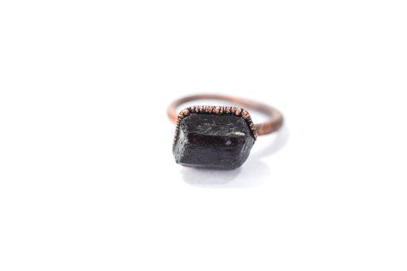 Black tourmaline ring | Black tourmaline crystal ring | Raw tourmaline ring | Raw mineral schorl crystal ring | Black tourmaline stone ring by HAWKHOUSE #TrendingEtsy