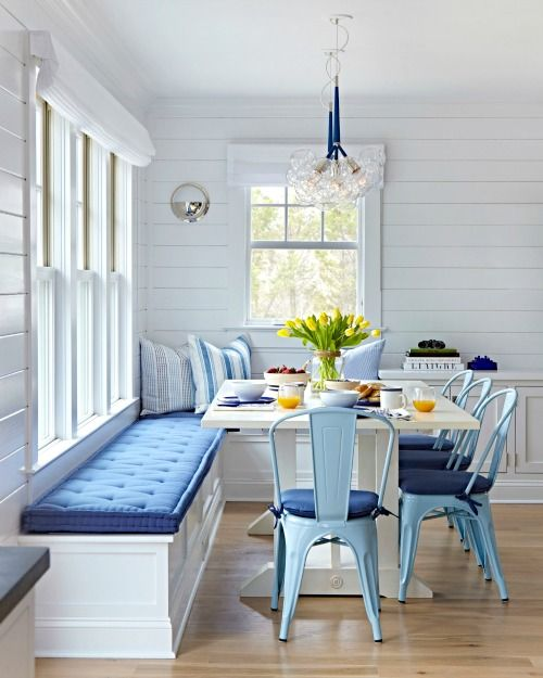 Casual Modern Style In A Blue And White Coastal Dining Room Featuring Shiplap Walls Ceiling Banquet Light Metal Chairs