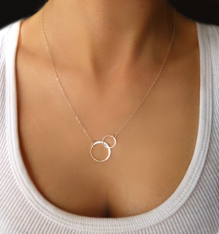 Infinity Necklace - Interlocking Hoop Necklace Gold or Silver - Small Double Circle Necklace - Linked Eternity Necklace - Gift Necklace. $32.00, via Etsy.