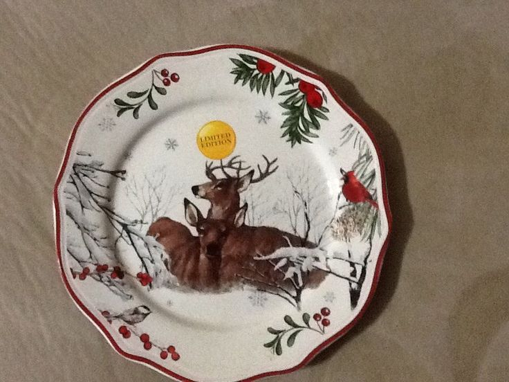 Better Homes Gardens Limited Edition Christmas Salad Plates Stag U0026 Doe Lot  Of 4