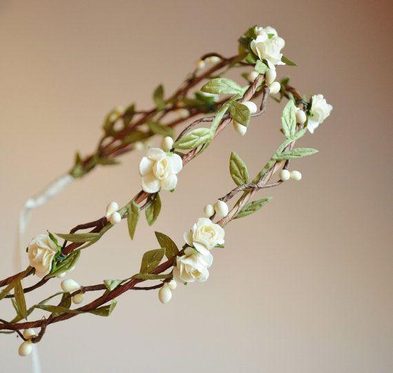 Boho bridal crown flower hair wreath woodland by gardensofwhimsy, $64.00