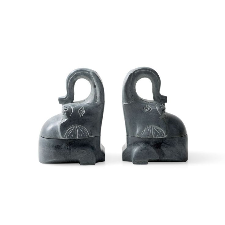 Engraved Elephant Bookends with Secret Storage