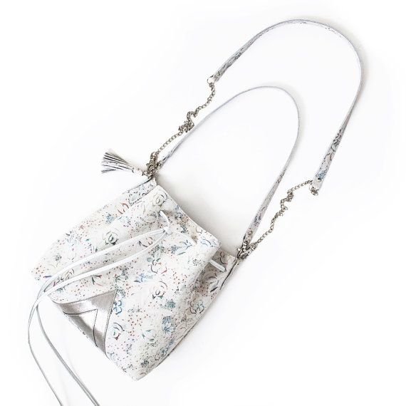 White Leather bucket bag Floral shoulder bag by gmaloudesigns