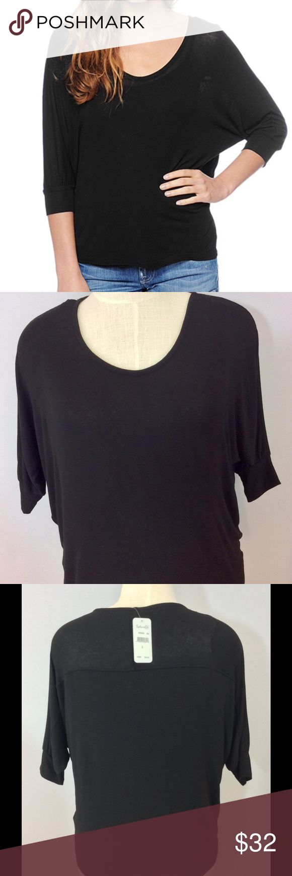 "Splendid Black Oversized Dolman Sleeve Top. Size S NWT. Splendid Black Oversized Dolman Sleeve Top. Size S. A boxy, oversized cut gives a Splendid top an effortless drape. An uneven hem and short dolman sleeves keep the look relaxed and loose. Semi-sheer. Measures approx. 25 long on side. 27"" flat under arms. Cover is a stock photo. All other pictures are of actual item. Splendid Tops"