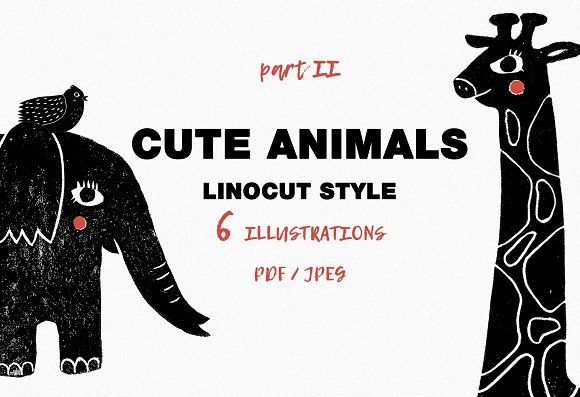 Cute animals / part 2 / Linocut - Illustrations