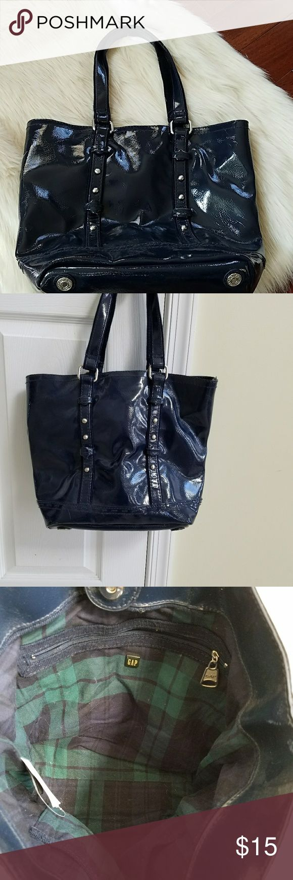 Beautiful Patent leather like Gap bag. NAVY BLUE GAP Patent leather like bag. Body made of polyvinyl chloride coating with backing fabric. Lining 100% cotton. No stains or scratches. NAVY blue GAP Bags Totes