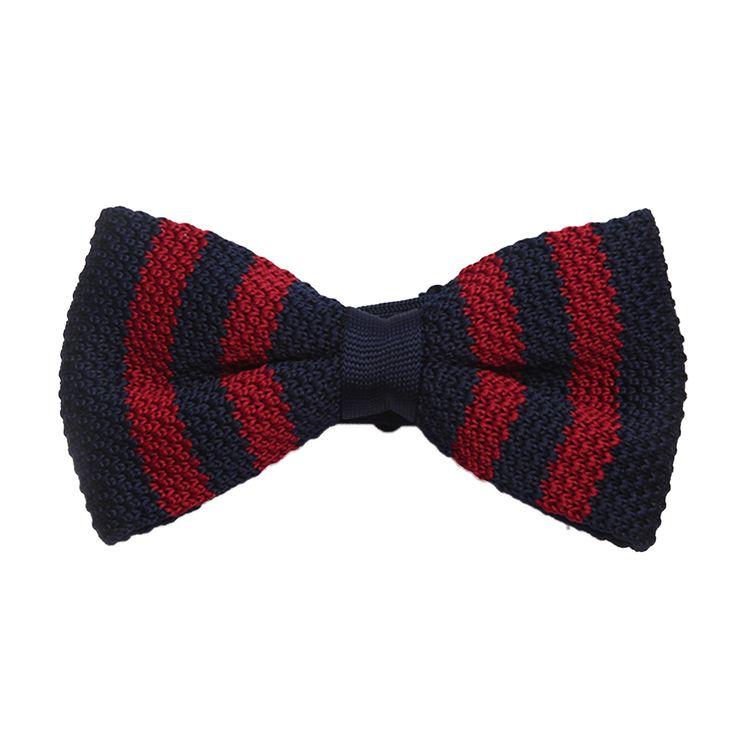 Noeud papillon tricot rayures rouge et bleu