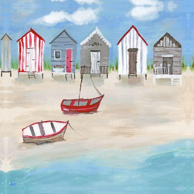 Illustrative Beach Huts Canvas - Hannah Cole