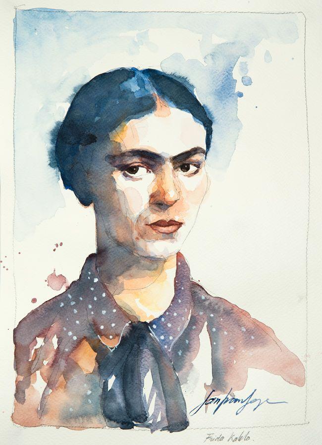 Frida Kahlo. Une série de portraits à l'aquarelle en hommage aux grands artistes du 19 ème au 20 ème siècle. Le lien vers mon blog : www.humericbox.com