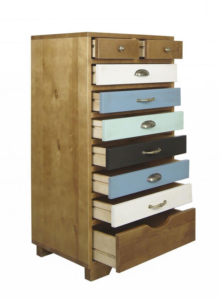 """Комод """"Aquarelle Birch"""" 9 ящиков - дизайнерский комод с разноцветными ящиками. Скандинавский стиль, прованс, лофт."""
