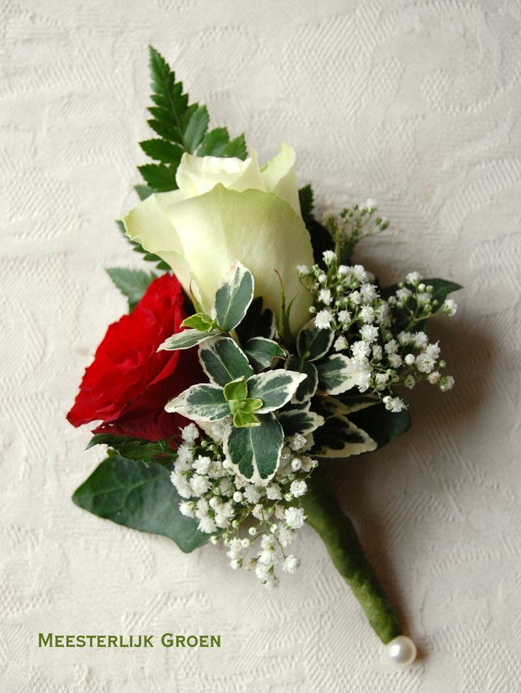 Bruidegom corsage - Rode en witte roos, wit gipskruid. www.meesterlijkgroen.nl