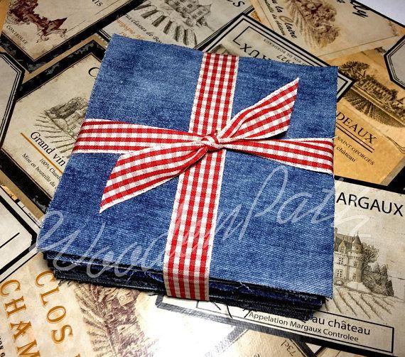 6 Denim Jeans 50 pcs Squares Patches Scraps for