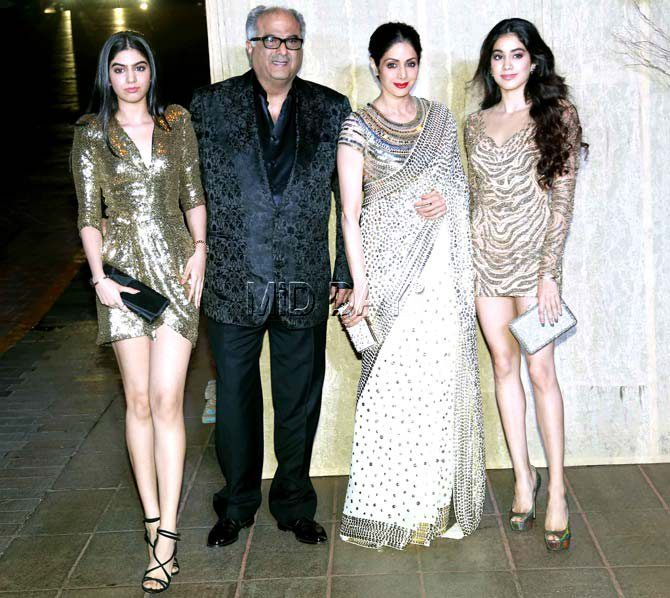 Boney Kapoor and Sridevi with daughters Jhanvi and Khushi at Manish Malhotra's grand birthday bash. #Bollywood #Fashion #Style #Beauty #Hot #Sexy
