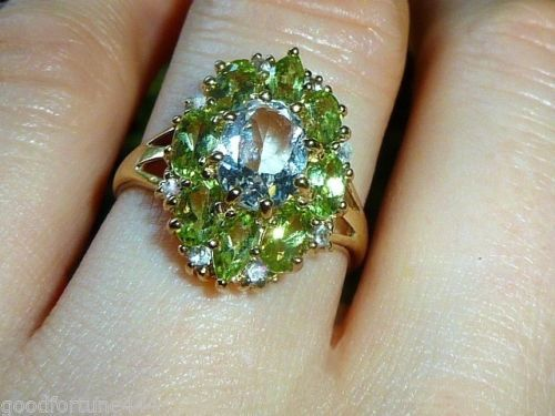9K-Solid-Gold-3-5CT-Sapphire-Peridot-Diamond-Cluster-Ring-sz-7-Antique-Victorian