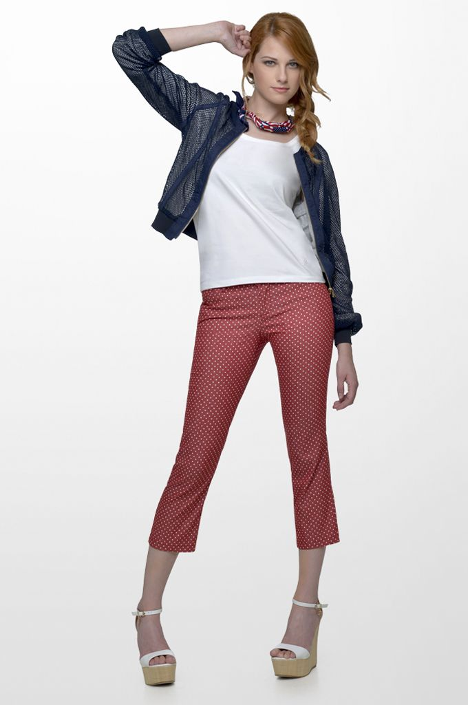 Sarah Lawrence - netted short outerwear with zipper, sleeveless cotton tank, cropped pant with polka dots.