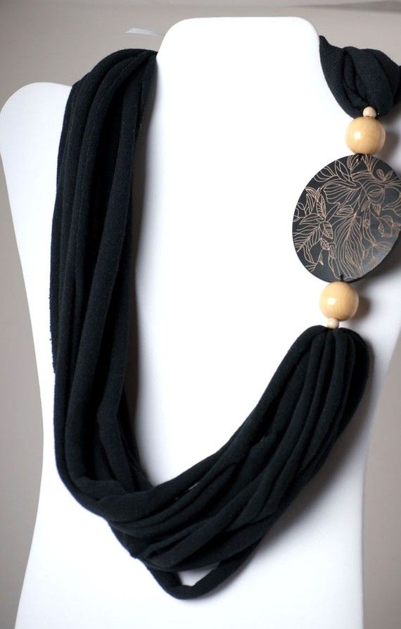 upcycled black and natural tshirt necklace by six20tees on Etsy, $22.00