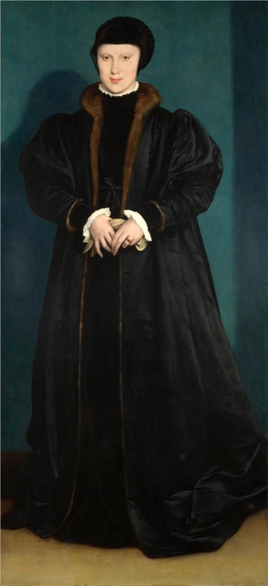 "Christina of Denmark, 1538- Hans Holbein the Younger -  There is a story probably apocryphal that when asked about the king's marriage proposal. That she said someone along the lines ""if I had two necks I would give his majesty one""  love it"