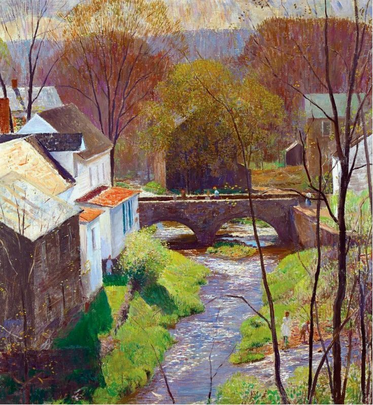 """Daniel Garber, (1880-1958).""""Springtime on Carversville"""". Incredible use of light in a classic Garber. SOLD by Harpoon Fine Art."""