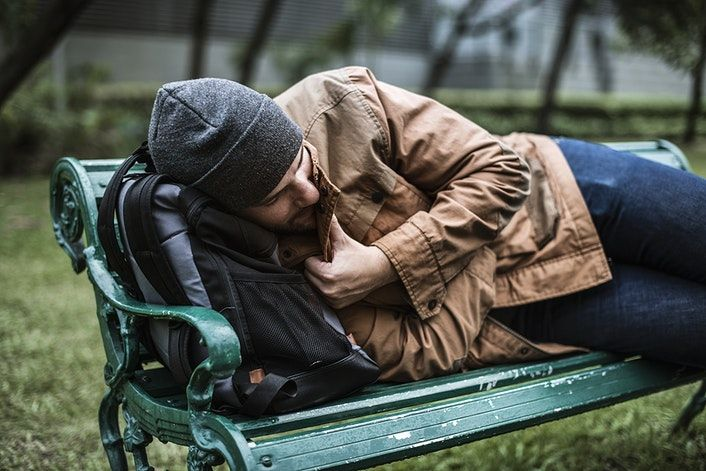 Download Premium Image Of Homeless People Sleeping On Bench In The Park Homeless People People Sleeping Homeless