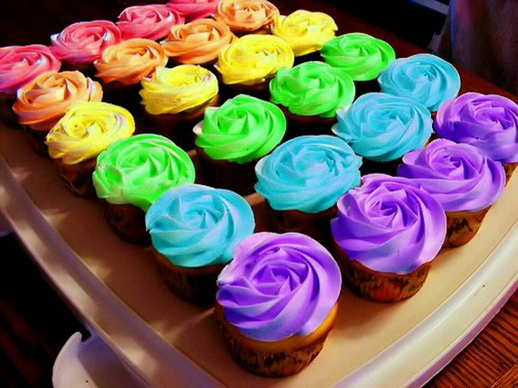 rainbow frosted cupcakes | Cupcakes | Pinterest | Rainbows and Cupcake