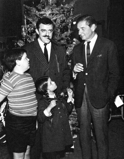 Charles Addams visits the set of The Addams Family tv show.