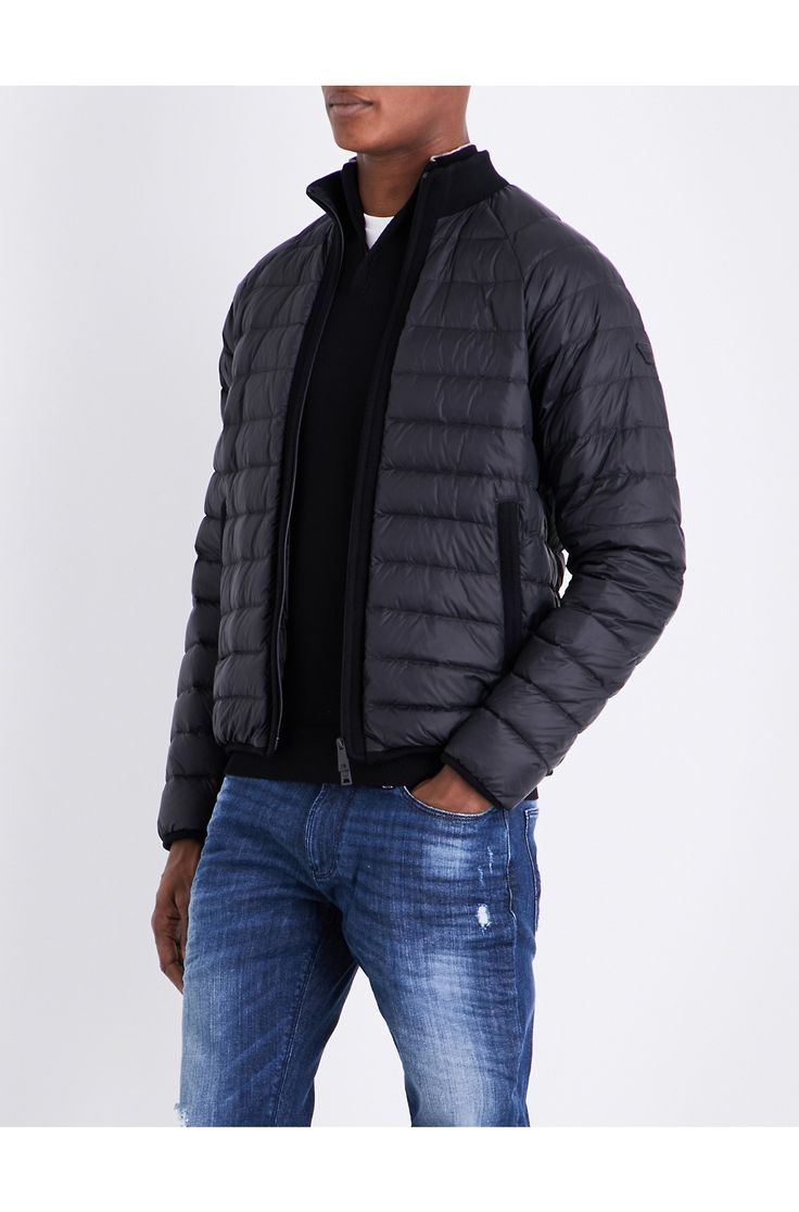 ARMANI JEANS - Stand-collar quilted shell jacket | Selfridges.com