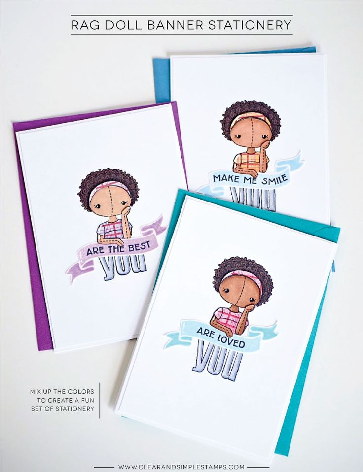 Clear and Simple Stamps | Rag Doll Banner Stationery