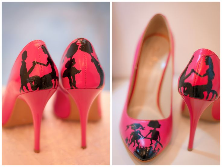 Valentine's Day special edition hand painted pink stiletto.