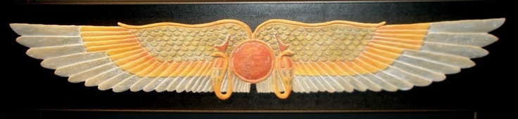 """Amun-Ra. med: 99x21x3 cm. Egyptian Symbol (Winged Sun) """"Lord of the Gates."""" Its Egyptian name is Amen or Imen, Greek, Ammon. In the texts of the Pyramids was considered a deity of the air (which is everywhere and at all times """"the occult""""), but was later associated with Ra, god of Heliopolis, Solar deity, under the name of Amun-Ra. He was also named """"Father of the winds"""", """"Alma Wind"""", """"God only becomes millions"""", """"He who dwells in all things,"""" """"Lord of the Thrones of the Two Lands""""..."""