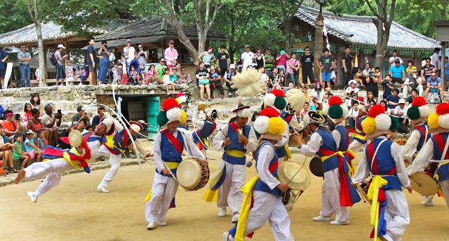Korean farmers dance is very popular in our region because of the farming community. The farmers dance was created to celebrate the crops and involves a variety of percussion and dancing.  At first the noises can be a little jarring, but the experience is wonderful to see.