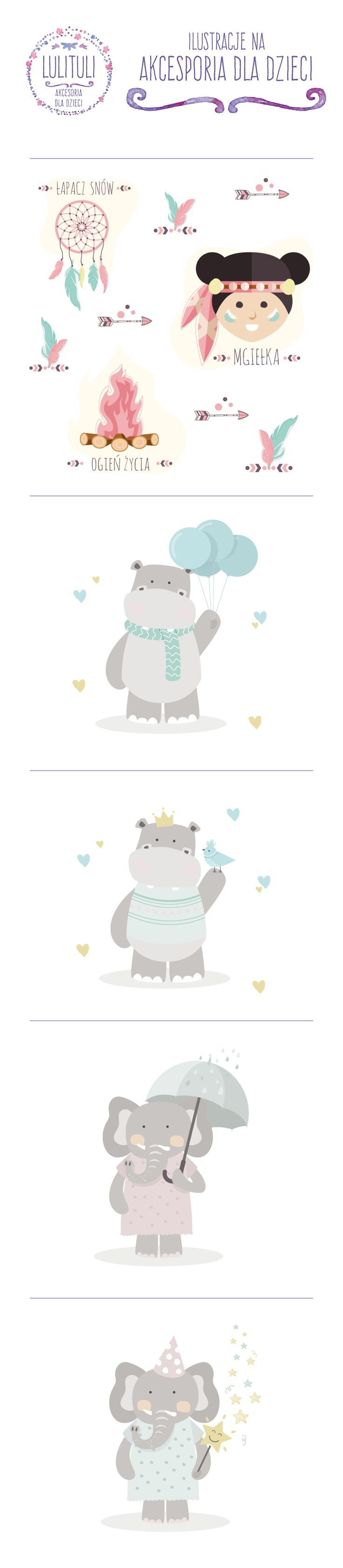 Ilustracje na akcesoria dla dzieci - Lulituli
