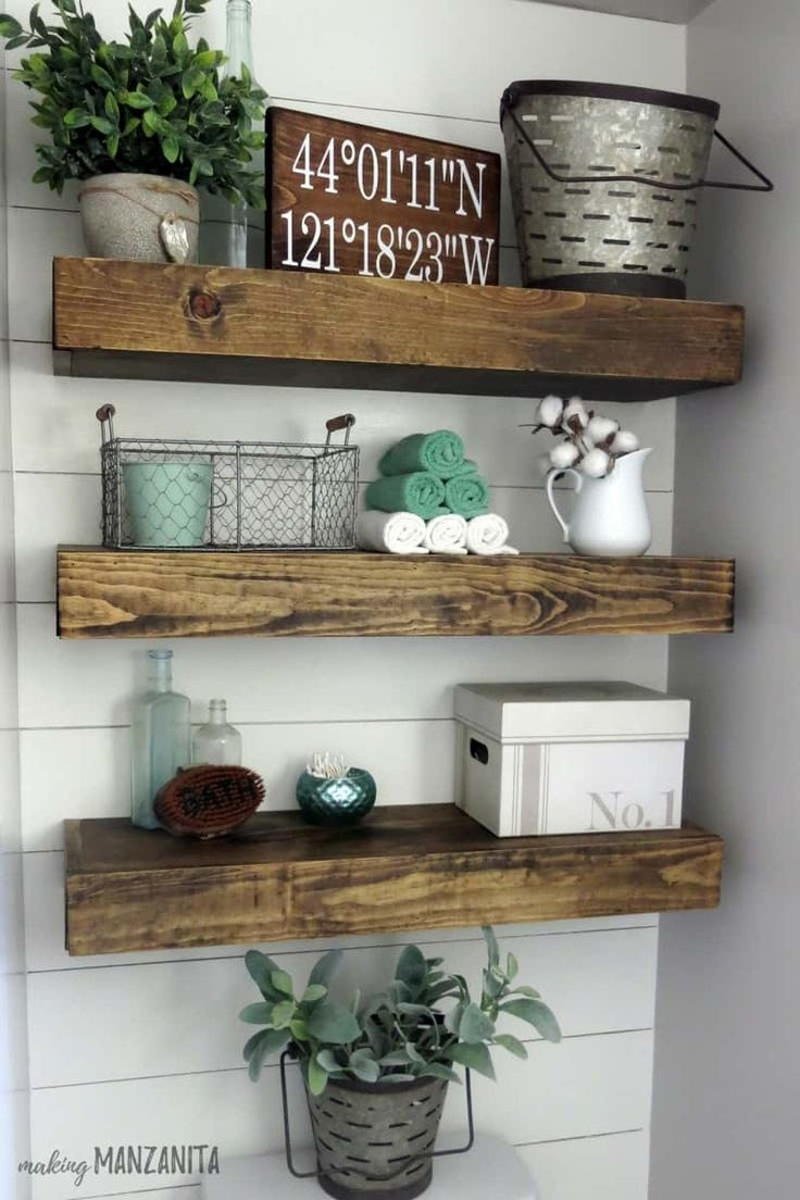 How to style farmhouse shelves | Shiplap and floating shelves | Shiplap in Bathr…   – Honey do list