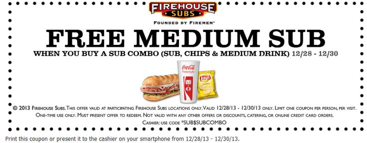 Pinned December 27th: Free medium sandwich with your combo at #Firehouse Subs #coupon via The Coupons App