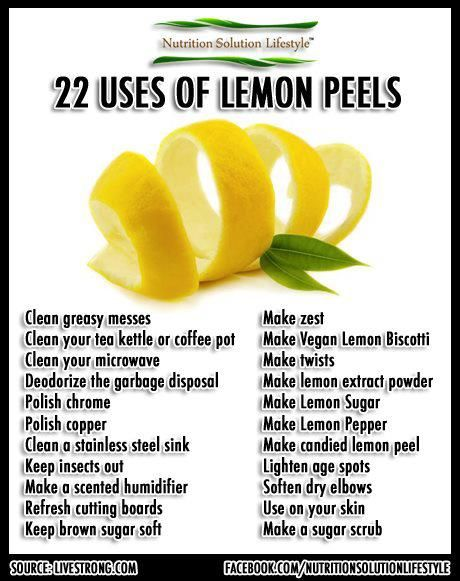 22 Uses of lemon peels. Fantastic tips from Author & Source: Melissa Breyer, care2.com