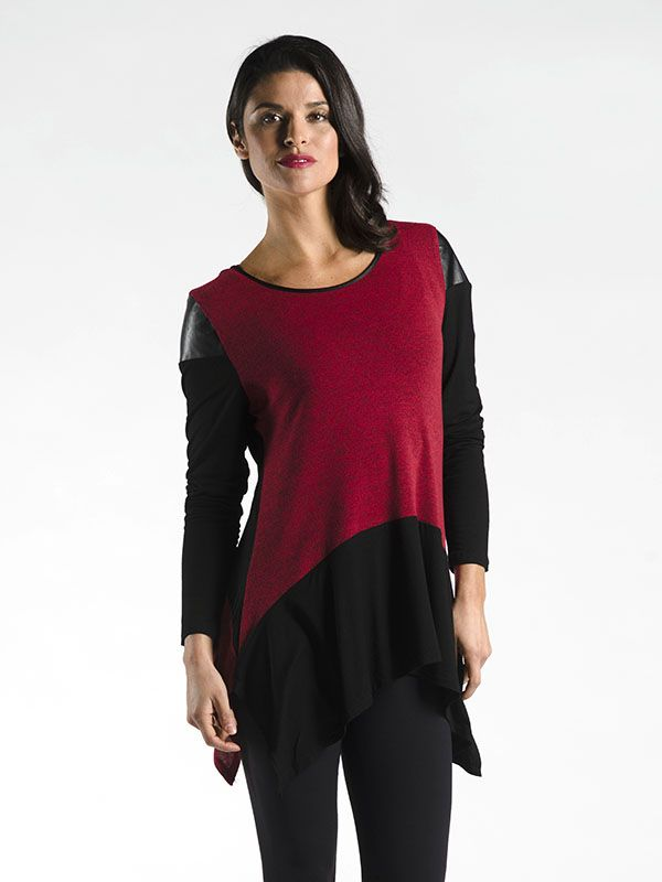Mixed Texture Top with Faux Leather Epaulettes - This fashionable piece features a blend of textures creating a top that is simple, elegant, and very unique!  With plenty of stretch all the way throughout, you'll feel comfortable and fashionable, especially when paired with your favourite leather accessories of the season!