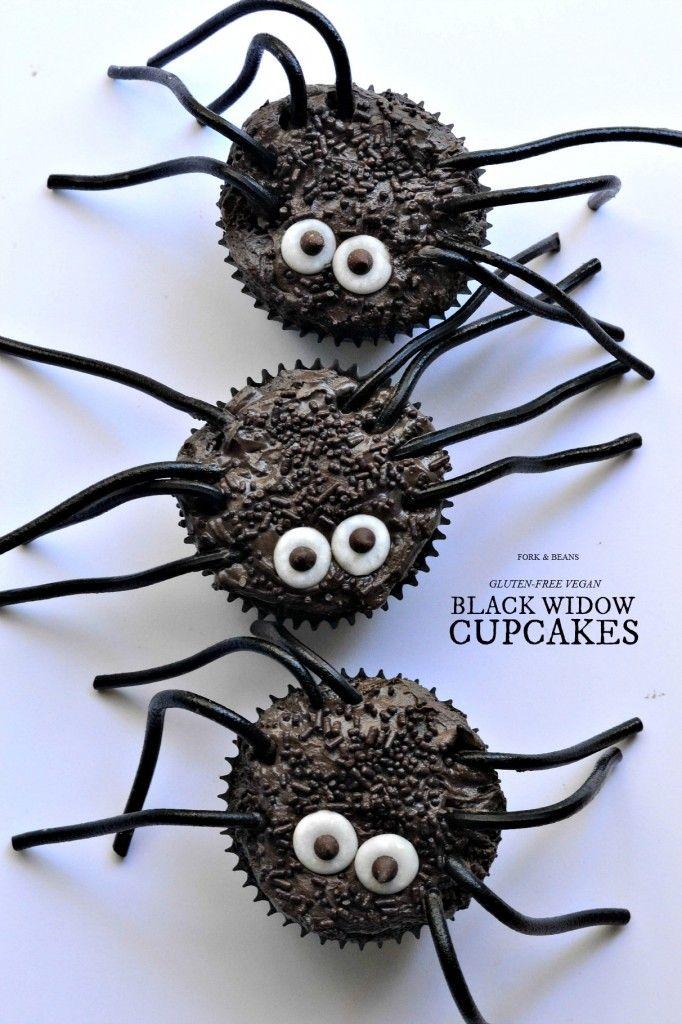 Gluten-Free Vegan Black Widow Spider Cupcakes