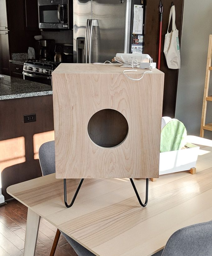 How To Build A Stunning Cat House Side Table For Your Kitties Cat House Diy Modern Cat Furniture Cat House
