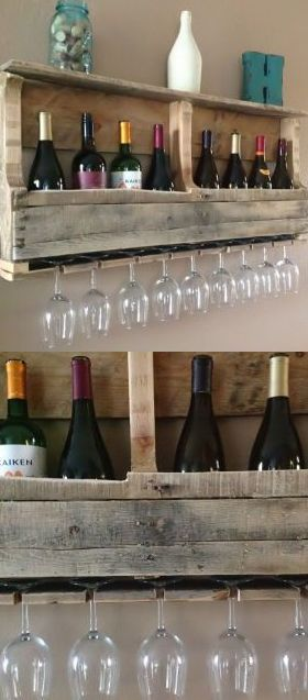 Reclaimed Wood Wine Rack with Shelf