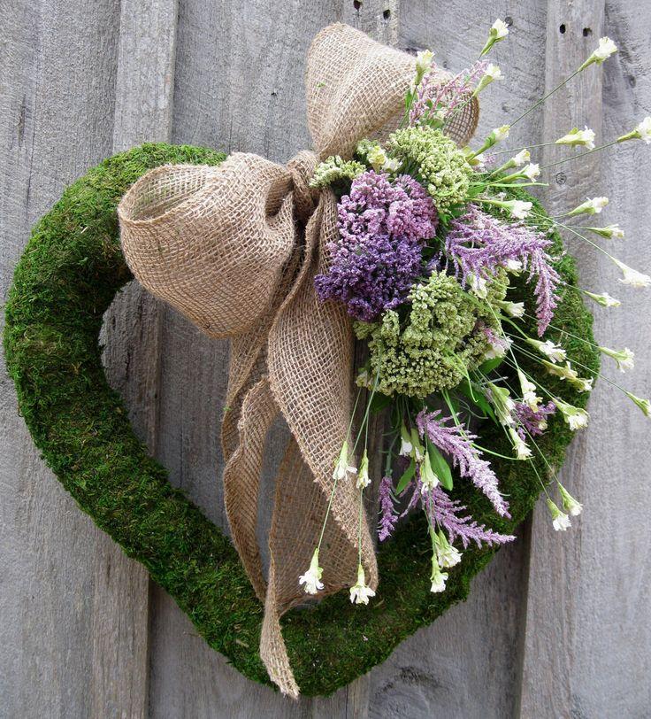 Valentine Wreath, Moss Wreath, Heart, Wedding, Burlap Bow, Spring Wreath. $119.00, via Etsy.