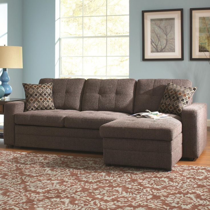 Gus Sectional Sofa With Tufts, Storage, And Pull Out Bed By Coaster