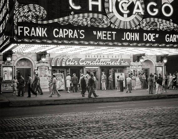 Chicago Photo, Theatre, Chicago Illinois, Gift for Movie Lovers, Entertainment Room Decor, Marquee, Meet Jane Doe, City Wall Art, 1941