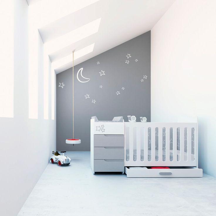Cunas convertibles modernas y de diseño para bebés. Cuna MINI EVOLUTIVE de Alondra, ideal para dormitorios infantiles pequeños. Cuna + cómoda con zona cambiador + cajones inferiores, convertible en cama junior. ¡Una solución de largo recorrido! http://www.alondra.es/cunas-convertibles/evolutive-baratas-K352A-2314