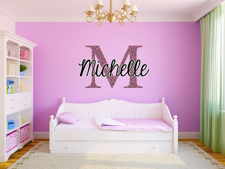 Delicieux Pink Cheetah Monogram Name Girls Room Vinyl Wall Decal