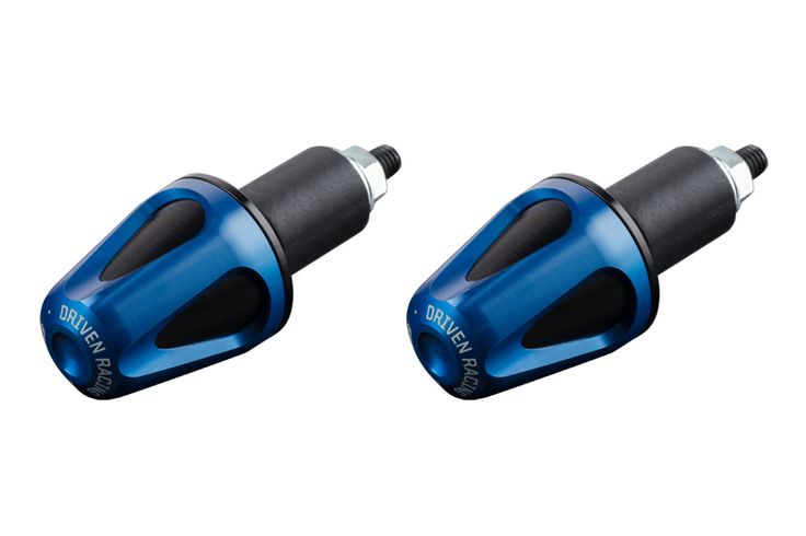 Driven Racing D-AXIS Bar End System Blue/Black:  50% more weight to reduce vibration in the bars.  Advanced two piece design.  Machined from billet 6061.  All hardware concealed after installation.  Made in the USA.